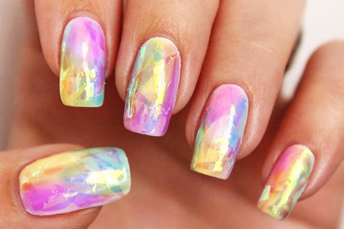 We Love This Rainbow Opal Nail Art