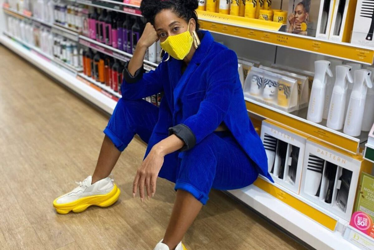 Outfit Obsession: Tracee Ellis Ross's Next Level Sneakers and Face Mask Combo